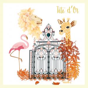Affichette «Zoo, Parc Tête d'Or»
